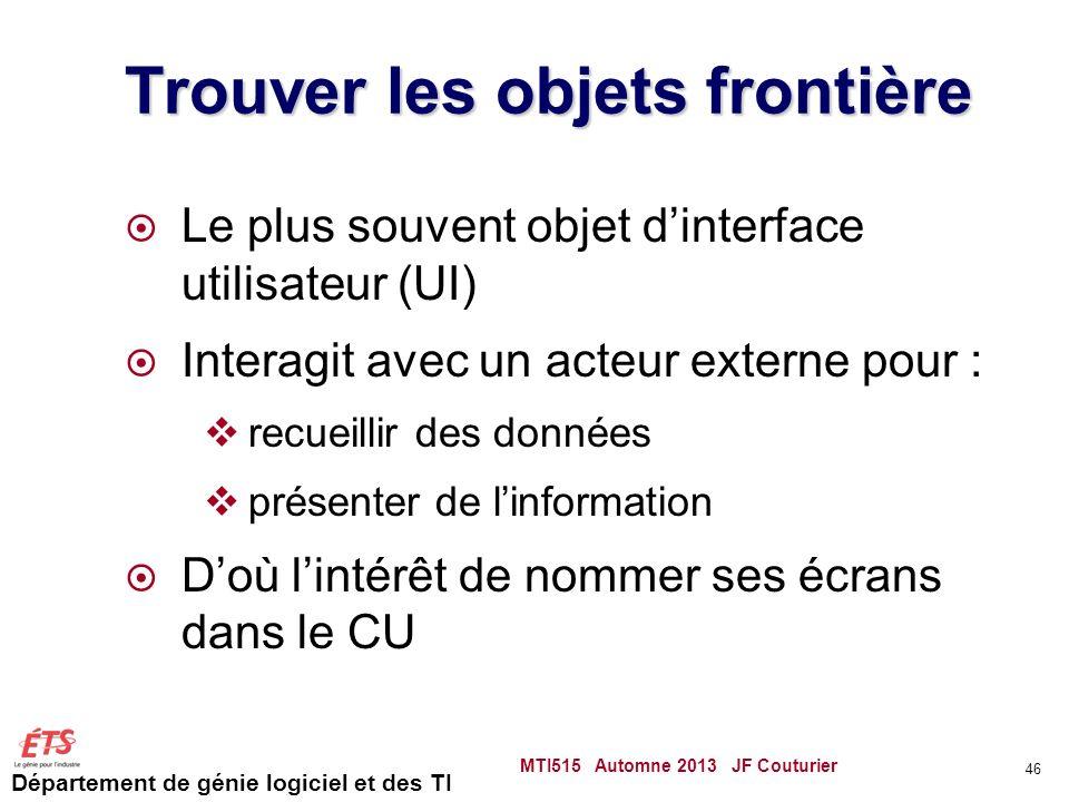 Département de génie logiciel et des TI Trouver les objets frontière Le plus souvent objet dinterface utilisateur (UI) Interagit avec un acteur externe pour : recueillir des données présenter de linformation Doù lintérêt de nommer ses écrans dans le CU MTI515 Automne 2013 JF Couturier 46