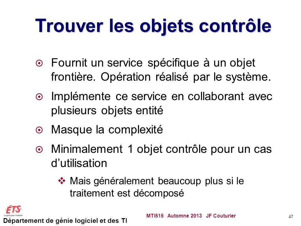 Département de génie logiciel et des TI Trouver les objets contrôle Fournit un service spécifique à un objet frontière.