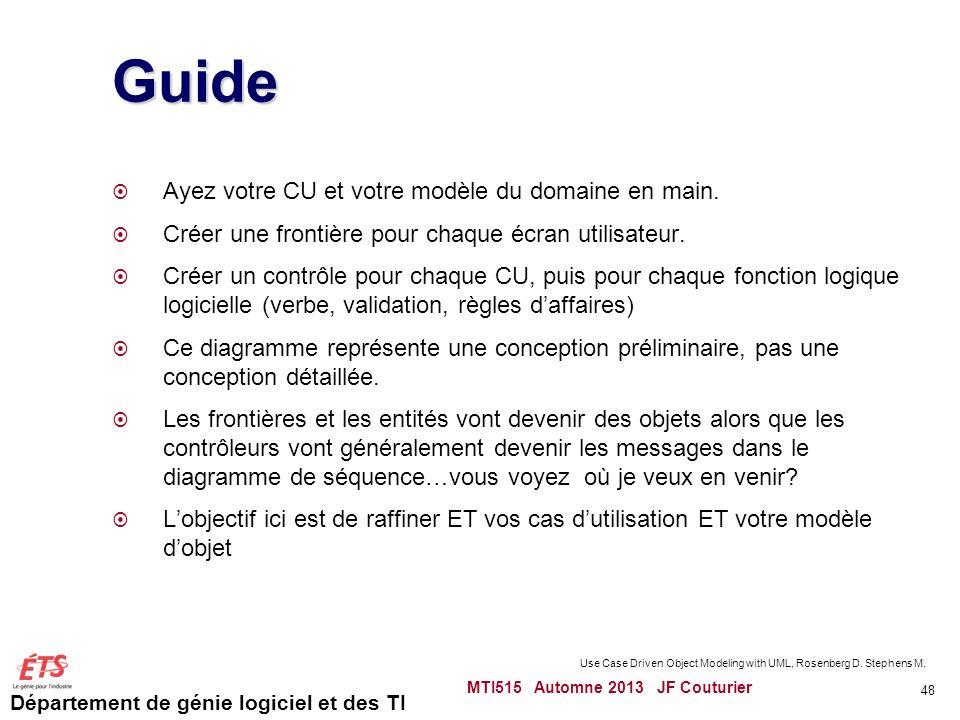 Département de génie logiciel et des TI Guide Ayez votre CU et votre modèle du domaine en main.
