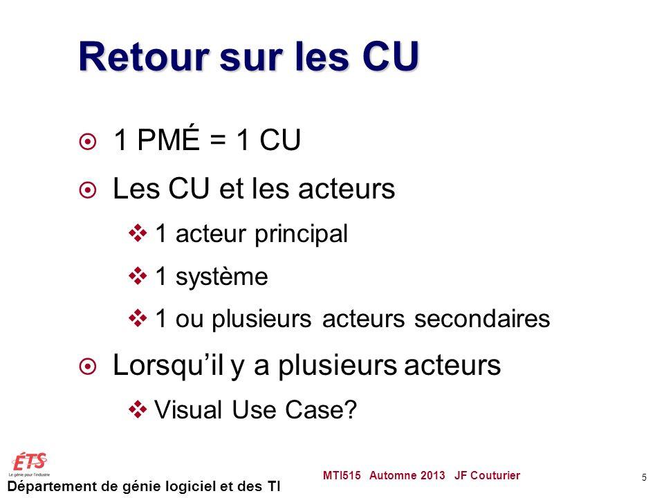 Département de génie logiciel et des TI Retour sur les CU 1 PMÉ = 1 CU Les CU et les acteurs 1 acteur principal 1 système 1 ou plusieurs acteurs secondaires Lorsquil y a plusieurs acteurs Visual Use Case.