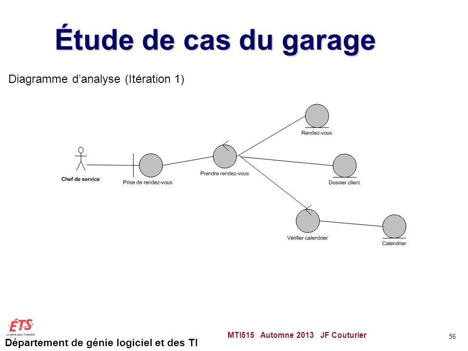 Département de génie logiciel et des TI Étude de cas du garage MTI515 Automne 2013 JF Couturier 56 Diagramme danalyse (Itération 1)