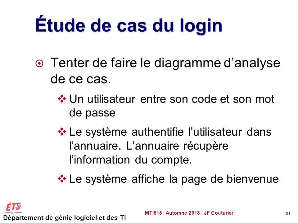 Département de génie logiciel et des TI Étude de cas du login Tenter de faire le diagramme danalyse de ce cas.