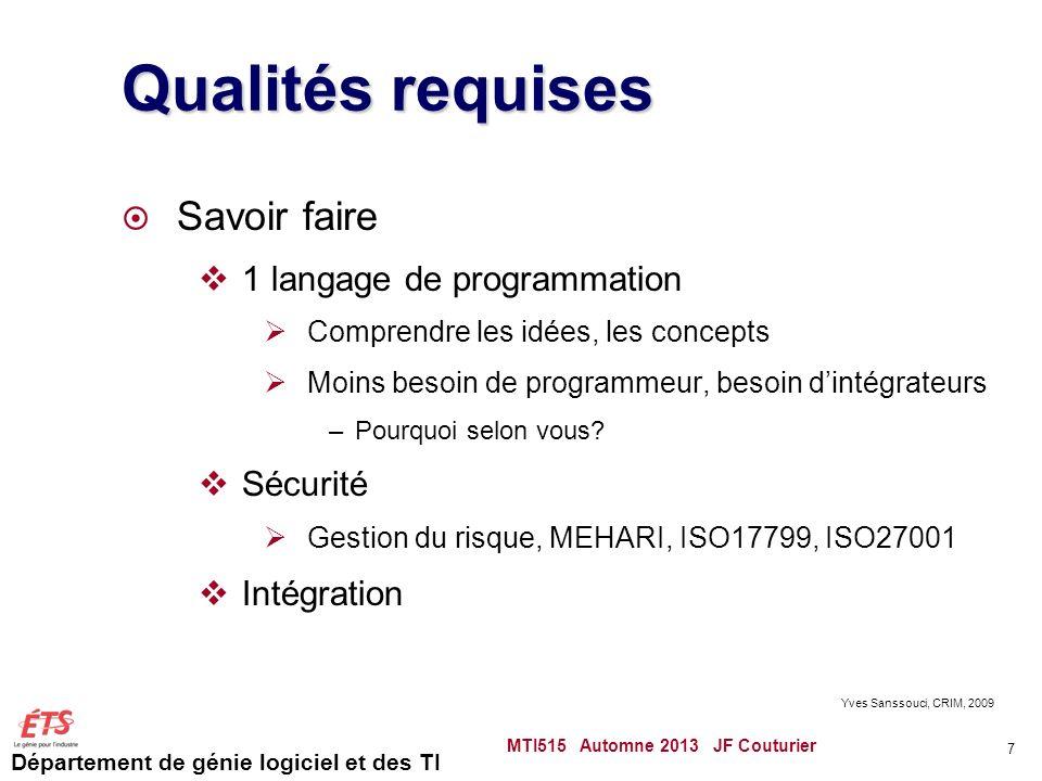 Département de génie logiciel et des TI Étude de cas du garage MTI515 Automne 2013 JF Couturier 58 Diagramme danalyse (Itération 3)