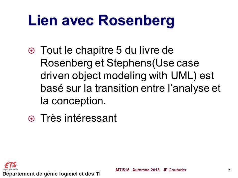 Département de génie logiciel et des TI Lien avec Rosenberg Tout le chapitre 5 du livre de Rosenberg et Stephens(Use case driven object modeling with UML) est basé sur la transition entre lanalyse et la conception.