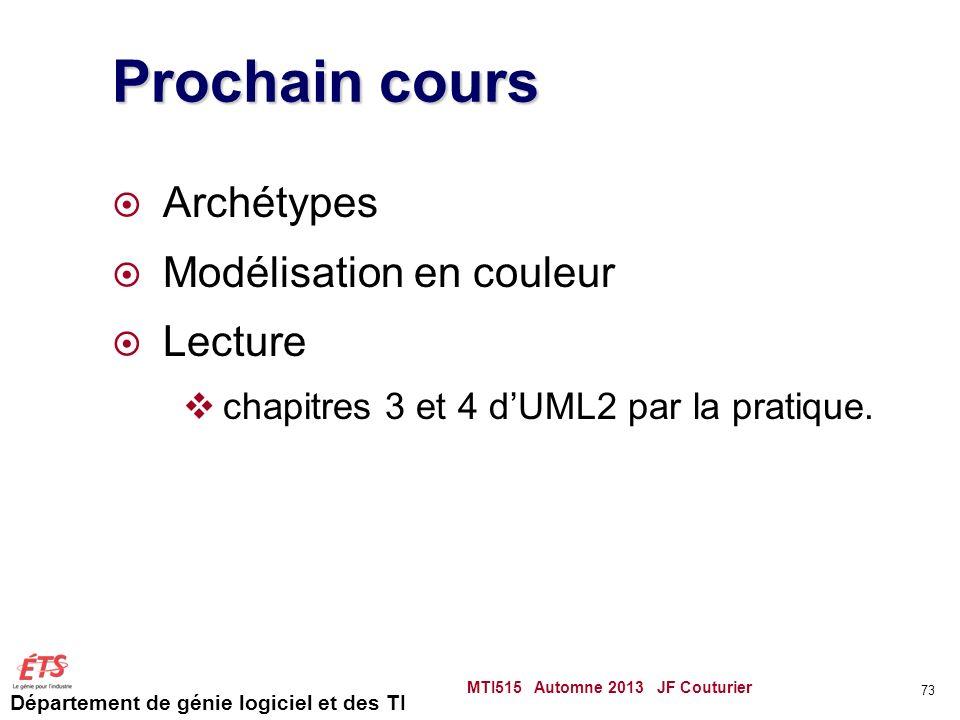 Département de génie logiciel et des TI Prochain cours Archétypes Modélisation en couleur Lecture chapitres 3 et 4 dUML2 par la pratique.