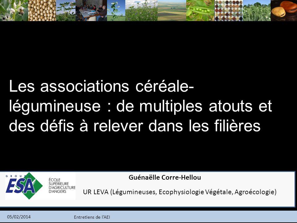 Entretiens de lAEI 05/02/2014 Les associations céréale- légumineuse : de multiples atouts et des défis à relever dans les filières Guénaëlle Corre-Hel