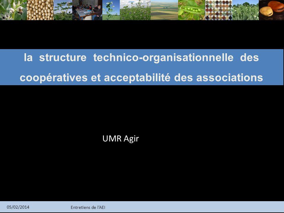 Entretiens de lAEI 05/02/2014 la structure technico-organisationnelle des coopératives et acceptabilité des associations UMR Agir