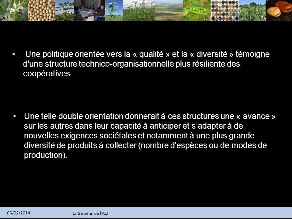 Entretiens de lAEI 05/02/2014 Une politique orientée vers la « qualité » et la « diversité » témoigne d'une structure technico-organisationnelle plus
