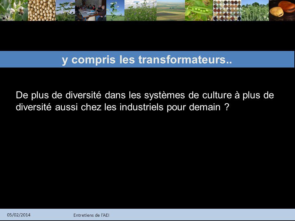 Entretiens de lAEI 05/02/2014 y compris les transformateurs.. De plus de diversité dans les systèmes de culture à plus de diversité aussi chez les ind