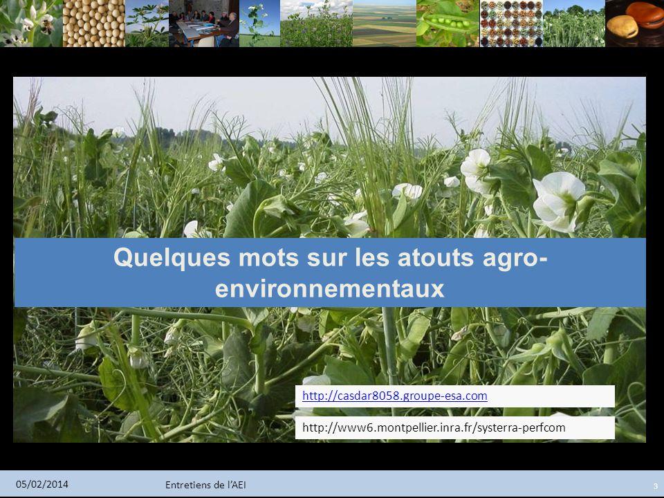 Entretiens de lAEI 05/02/2014 3 Quelques mots sur les atouts agro- environnementaux http://casdar8058.groupe-esa.com http://www6.montpellier.inra.fr/s