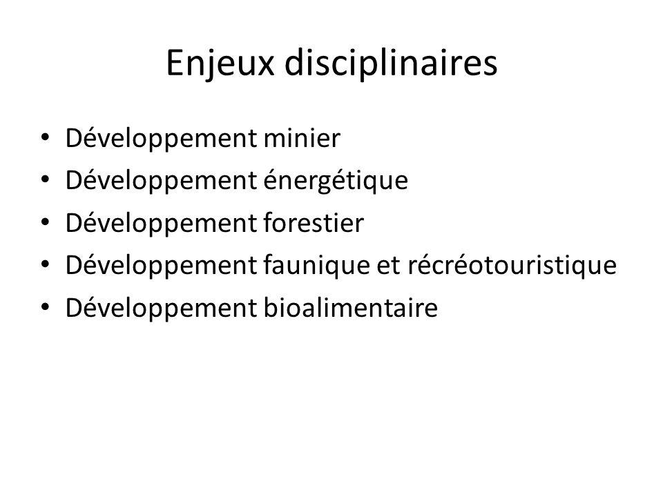 Enjeux disciplinaires Développement minier Développement énergétique Développement forestier Développement faunique et récréotouristique Développement bioalimentaire