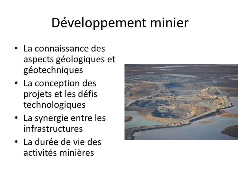 Développement minier La connaissance des aspects géologiques et géotechniques La conception des projets et les défis technologiques La synergie entre les infrastructures La durée de vie des activités minières