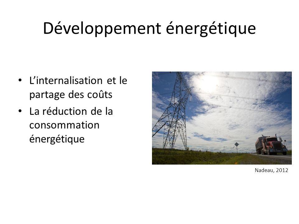 Développement énergétique Linternalisation et le partage des coûts La réduction de la consommation énergétique Nadeau, 2012