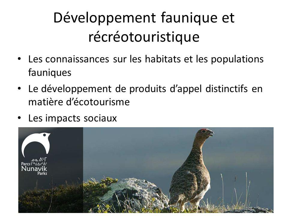 Développement faunique et récréotouristique Les connaissances sur les habitats et les populations fauniques Le développement de produits dappel distinctifs en matière décotourisme Les impacts sociaux