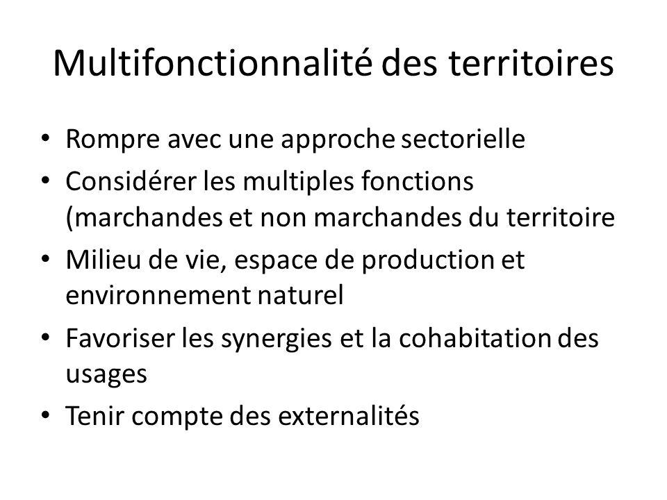 Multifonctionnalité des territoires Rompre avec une approche sectorielle Considérer les multiples fonctions (marchandes et non marchandes du territoir