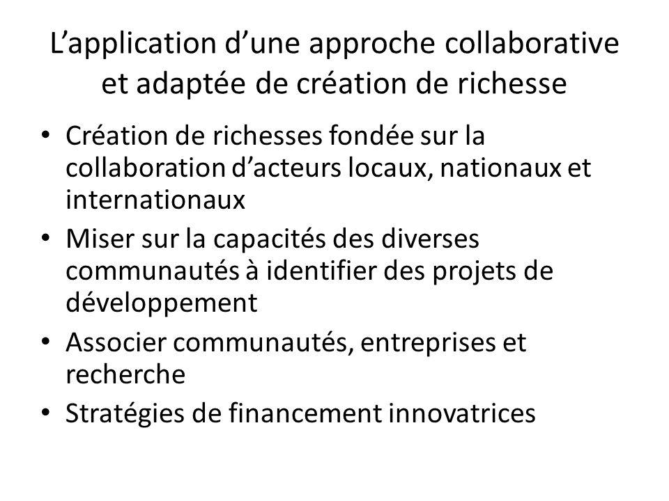 Lapplication dune approche collaborative et adaptée de création de richesse Création de richesses fondée sur la collaboration dacteurs locaux, nationaux et internationaux Miser sur la capacités des diverses communautés à identifier des projets de développement Associer communautés, entreprises et recherche Stratégies de financement innovatrices