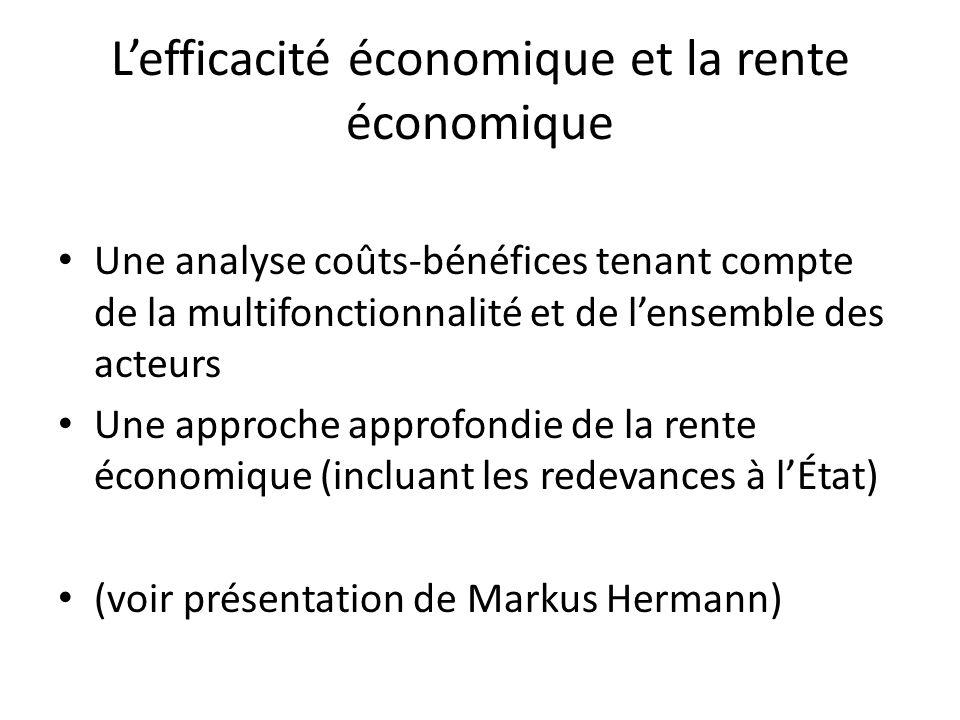 Lefficacité économique et la rente économique Une analyse coûts-bénéfices tenant compte de la multifonctionnalité et de lensemble des acteurs Une approche approfondie de la rente économique (incluant les redevances à lÉtat) (voir présentation de Markus Hermann)
