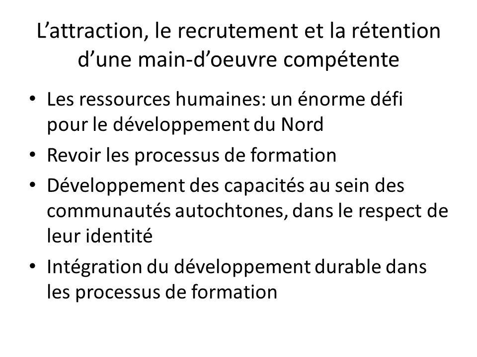 Lattraction, le recrutement et la rétention dune main-doeuvre compétente Les ressources humaines: un énorme défi pour le développement du Nord Revoir les processus de formation Développement des capacités au sein des communautés autochtones, dans le respect de leur identité Intégration du développement durable dans les processus de formation