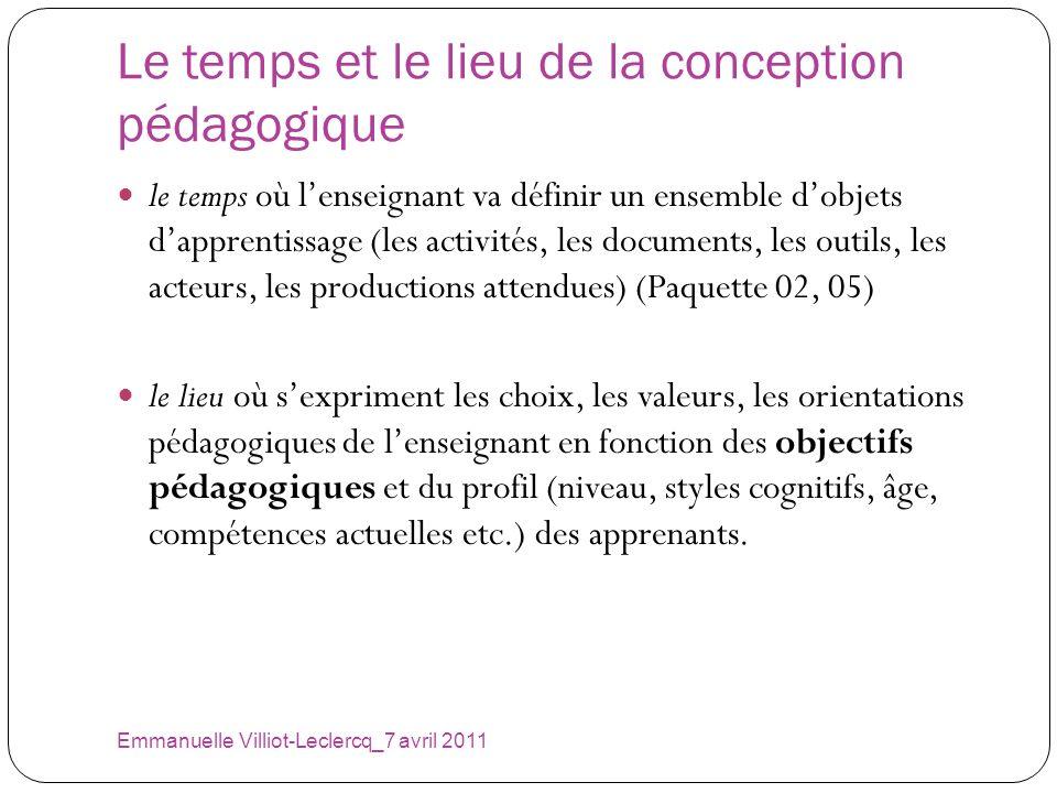 Le temps et le lieu de la conception pédagogique Emmanuelle Villiot-Leclercq_7 avril 2011 le temps où lenseignant va définir un ensemble dobjets dappr
