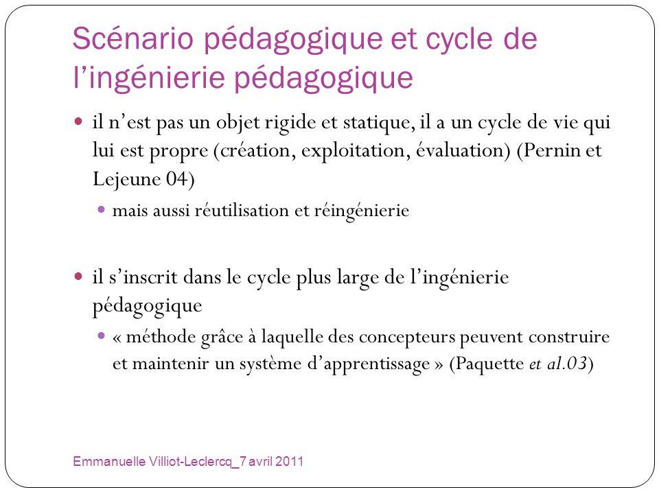 Scénario pédagogique et cycle de lingénierie pédagogique Emmanuelle Villiot-Leclercq_7 avril 2011 il nest pas un objet rigide et statique, il a un cyc