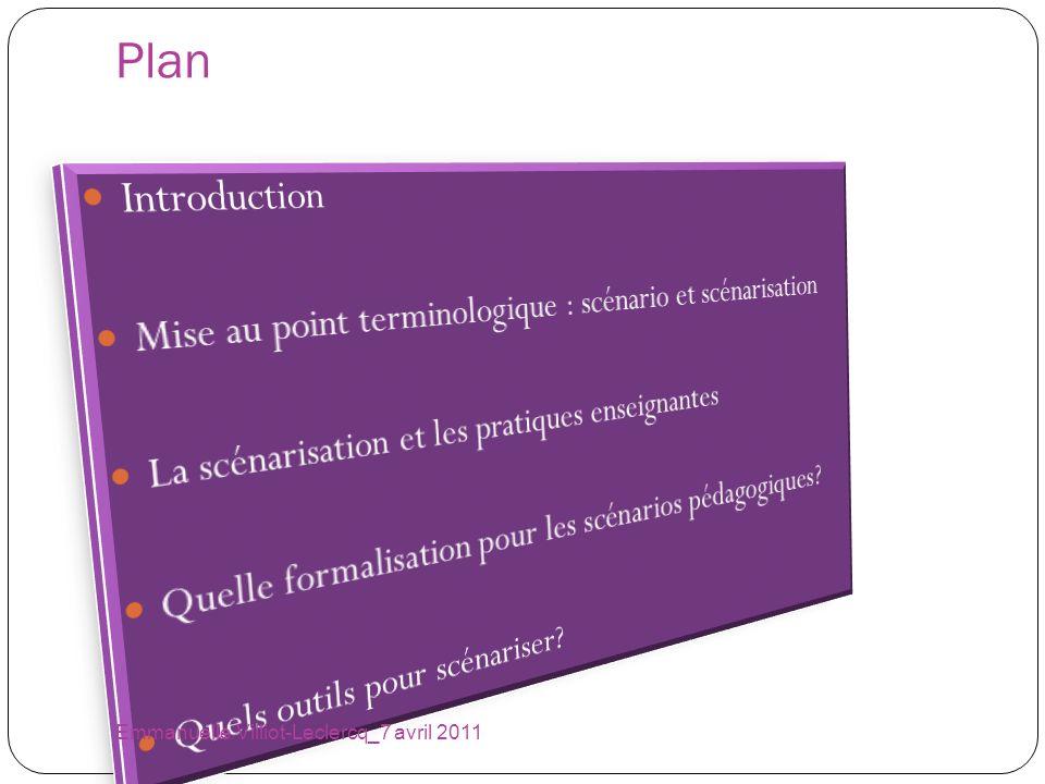 Learning Design Language Emmanuelle Villiot-Leclercq_7 avril 2011 Ce langage de modélisation (LDL) sappuie sur un méta- modèle issu des travaux dans le domaine de lapprentissage coopératif assisté par ordinateur (Martel, 1998, Martel et al, 2004, Martel et al, 07, Ferraris et al, 2007) Il représente une alternative à IMS-LD