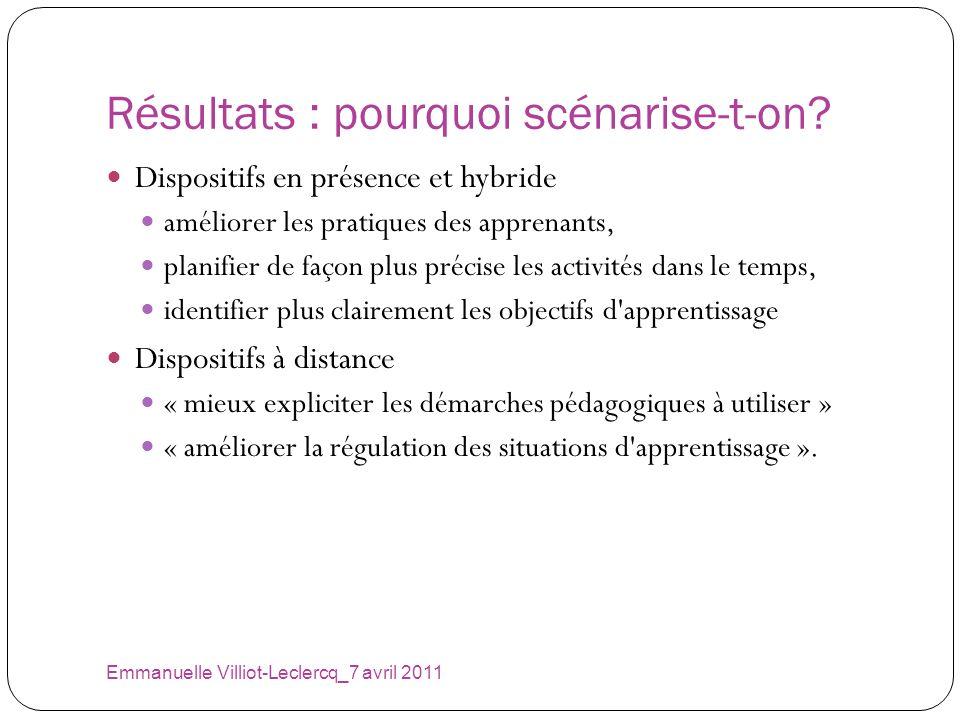 Résultats : pourquoi scénarise-t-on? Emmanuelle Villiot-Leclercq_7 avril 2011 Dispositifs en présence et hybride améliorer les pratiques des apprenant