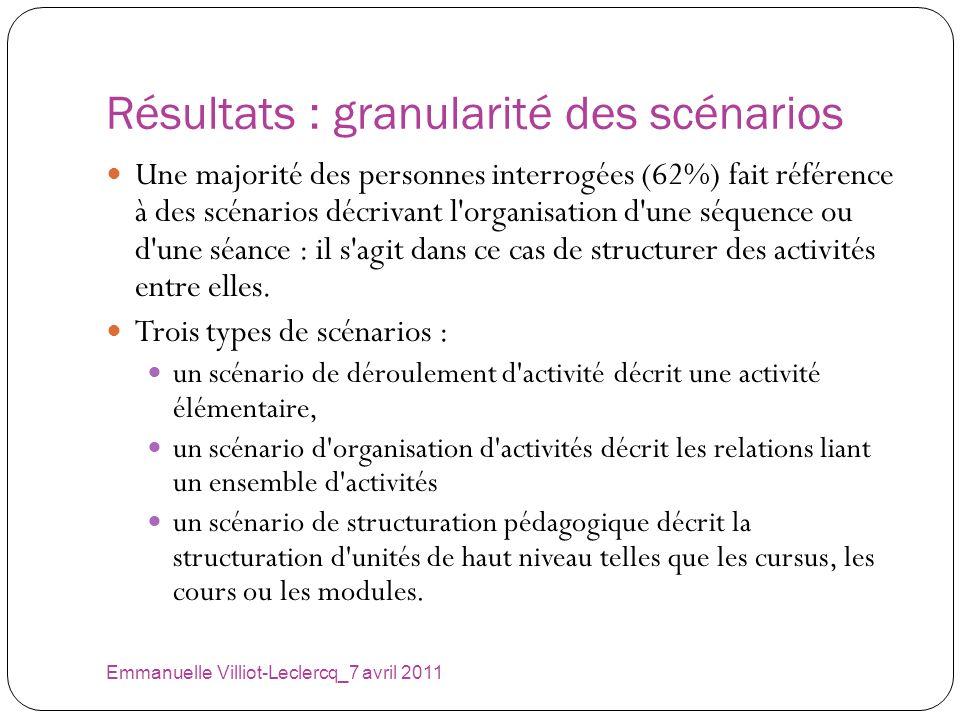 Résultats : granularité des scénarios Emmanuelle Villiot-Leclercq_7 avril 2011 Une majorité des personnes interrogées (62%) fait référence à des scéna