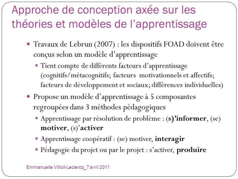 Approche de conception axée sur les théories et modèles de lapprentissage Travaux de Lebrun (2007) : les dispositifs FOAD doivent être conçus selon un