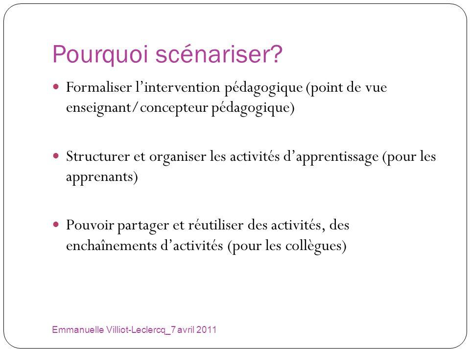 Pourquoi scénariser? Emmanuelle Villiot-Leclercq_7 avril 2011 Formaliser lintervention pédagogique (point de vue enseignant/concepteur pédagogique) St