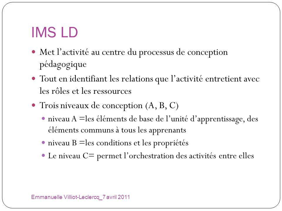 IMS LD Emmanuelle Villiot-Leclercq_7 avril 2011 Met lactivité au centre du processus de conception pédagogique Tout en identifiant les relations que l