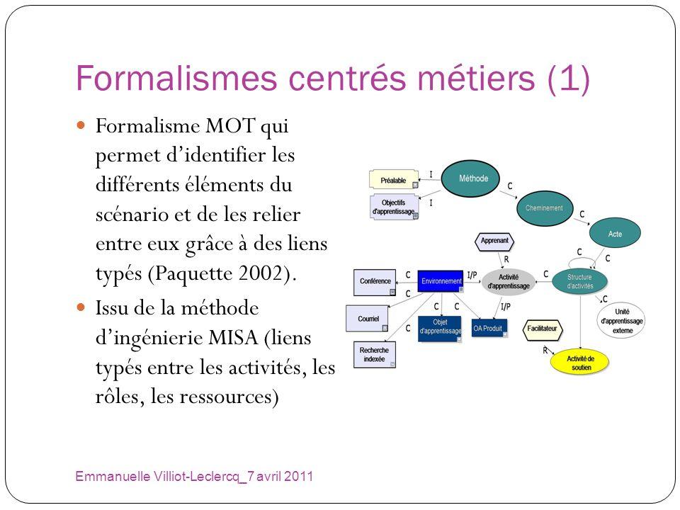 Formalismes centrés métiers (1) Emmanuelle Villiot-Leclercq_7 avril 2011 Formalisme MOT qui permet didentifier les différents éléments du scénario et