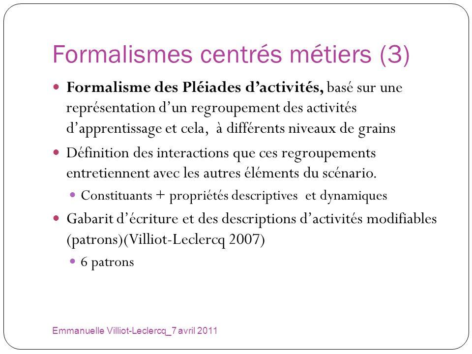 Formalismes centrés métiers (3) Emmanuelle Villiot-Leclercq_7 avril 2011 Formalisme des Pléiades dactivités, basé sur une représentation dun regroupem