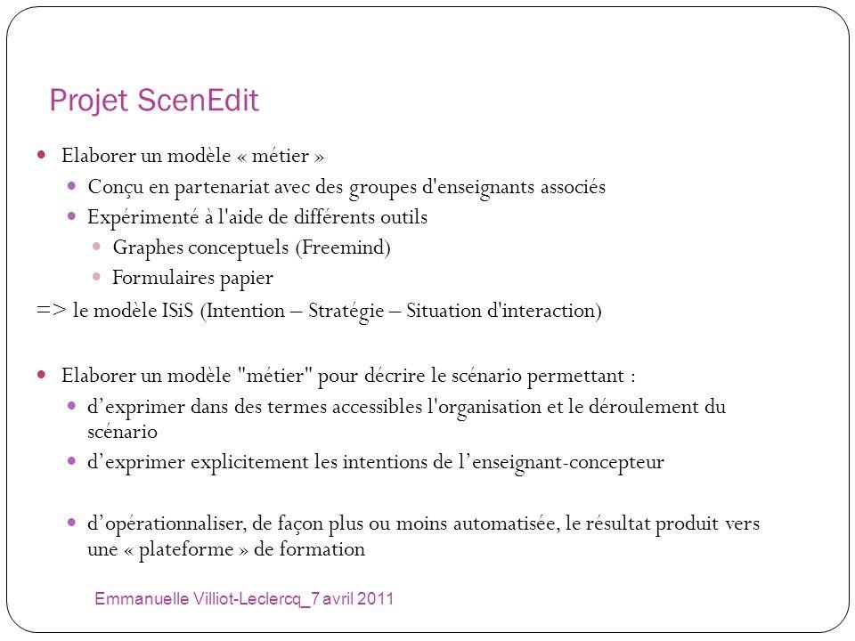 Projet ScenEdit Emmanuelle Villiot-Leclercq_7 avril 2011 Elaborer un modèle « métier » Conçu en partenariat avec des groupes d'enseignants associés Ex