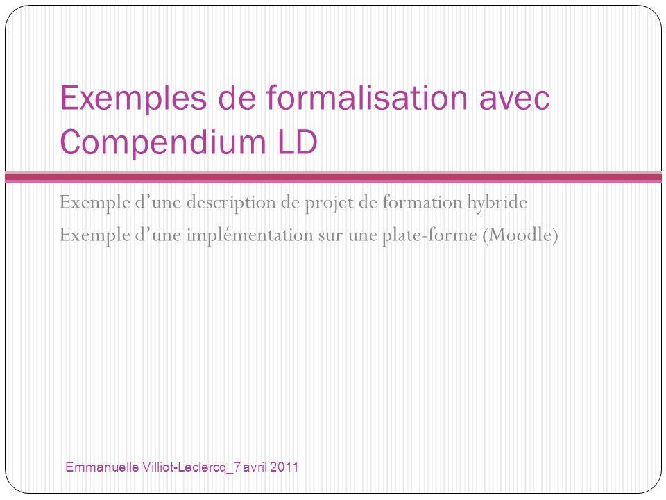 Exemples de formalisation avec Compendium LD Exemple dune description de projet de formation hybride Exemple dune implémentation sur une plate-forme (