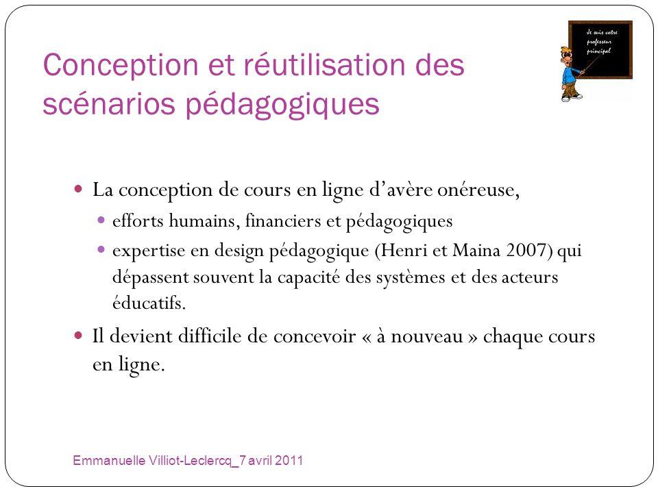 Conception et réutilisation des scénarios pédagogiques Emmanuelle Villiot-Leclercq_7 avril 2011 La conception de cours en ligne davère onéreuse, effor