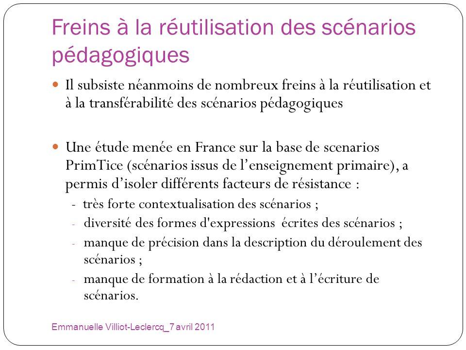 Freins à la réutilisation des scénarios pédagogiques Emmanuelle Villiot-Leclercq_7 avril 2011 Il subsiste néanmoins de nombreux freins à la réutilisat