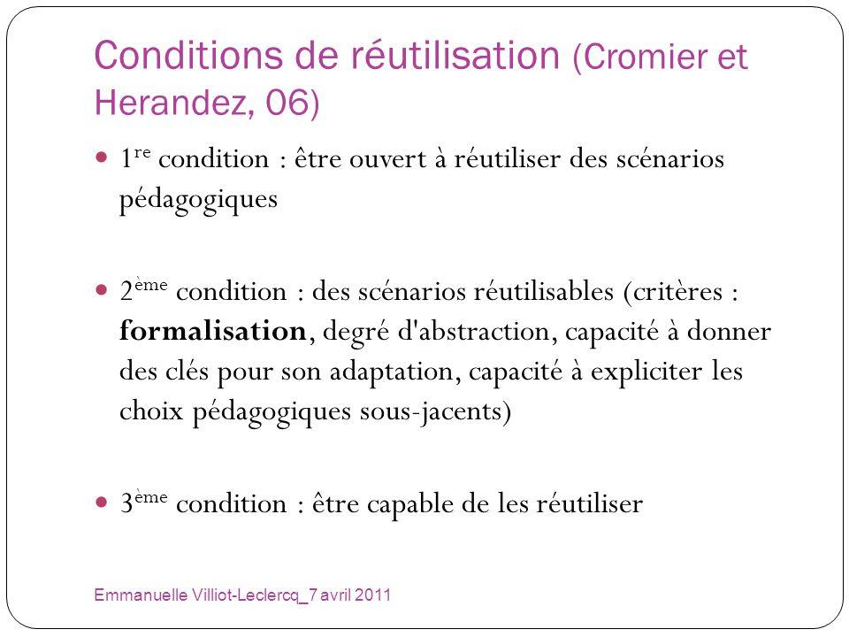 Conditions de réutilisation (Cromier et Herandez, 06) Emmanuelle Villiot-Leclercq_7 avril 2011 1 re condition : être ouvert à réutiliser des scénarios