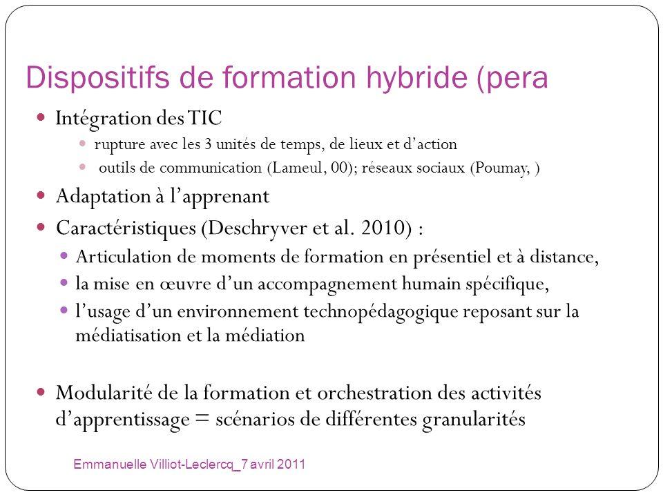 Dispositifs de formation hybride (pera Intégration des TIC rupture avec les 3 unités de temps, de lieux et daction outils de communication (Lameul, 00