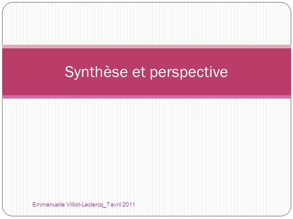 Emmanuelle Villiot-Leclercq_7 avril 2011 Synthèse et perspective