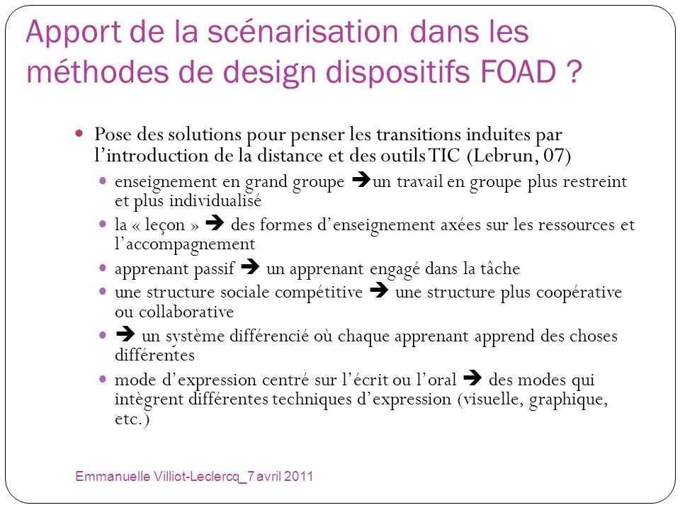 Apport de la scénarisation dans les méthodes de design dispositifs FOAD ? Pose des solutions pour penser les transitions induites par lintroduction de