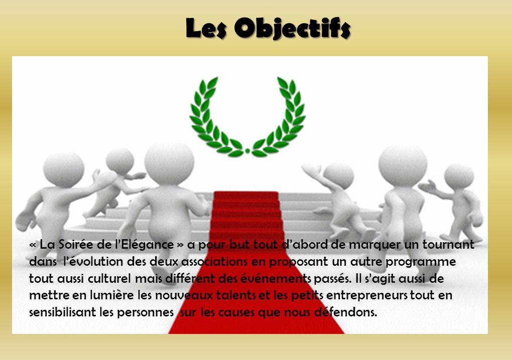 Les Objectifs « La Soirée de lElégance » a pour but tout dabord de marquer un tournant dans lévolution des deux associations en proposant un autre pro