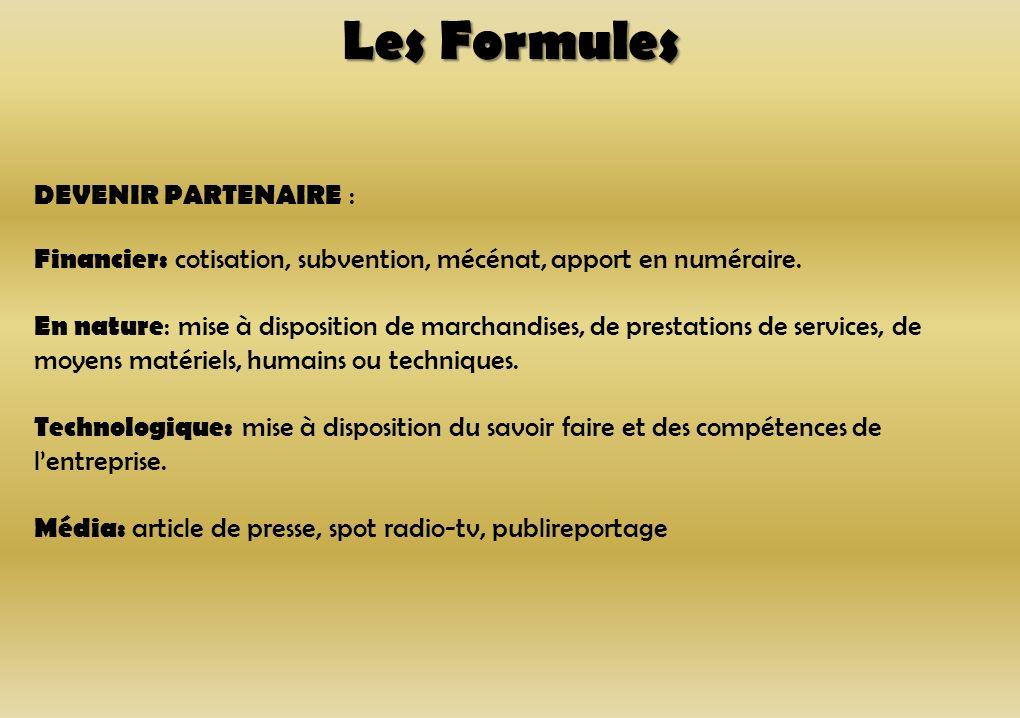 Les Formules DEVENIR PARTENAIRE : Financier: cotisation, subvention, mécénat, apport en numéraire. En nature : mise à disposition de marchandises, de