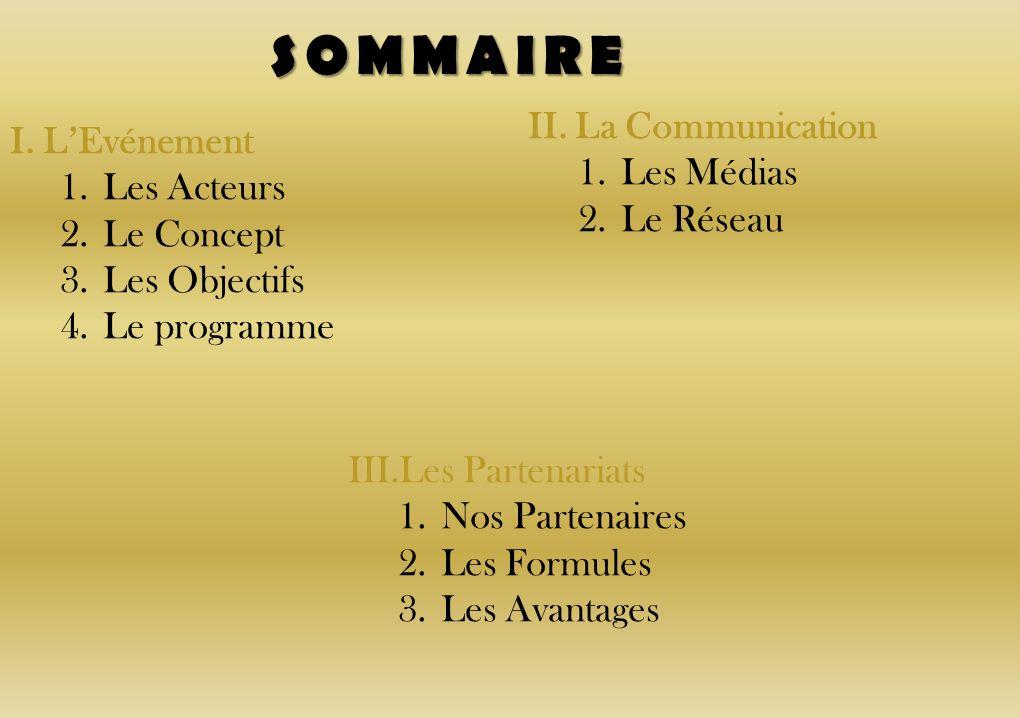 SOMMAIRE I. LEvénement 1.Les Acteurs 2.Le Concept 3.Les Objectifs 4.Le programme II. La Communication 1.Les Médias 2.Le Réseau III.Les Partenariats 1.