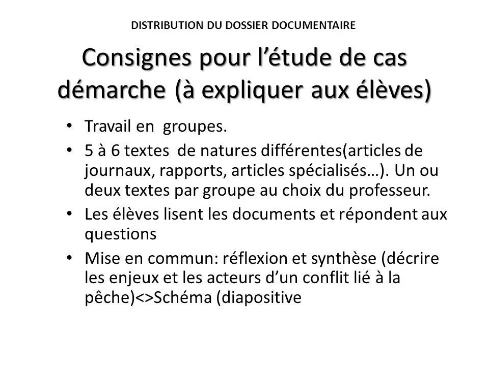 Consignes pour létude de cas démarche (à expliquer aux élèves) Travail en groupes. 5 à 6 textes de natures différentes(articles de journaux, rapports,