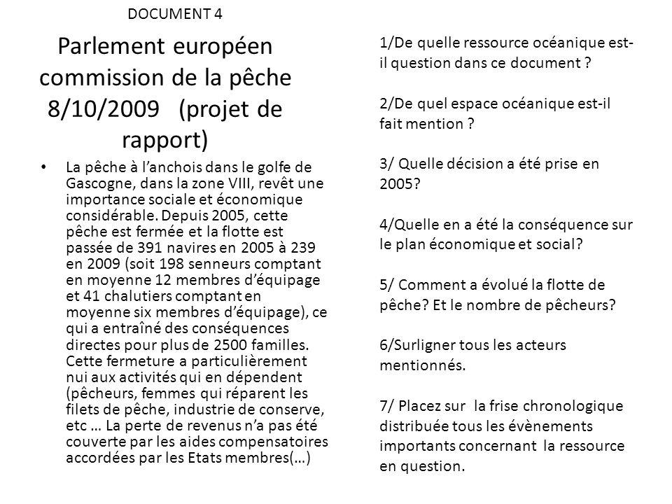 Parlement européen commission de la pêche 8/10/2009 (projet de rapport) La pêche à lanchois dans le golfe de Gascogne, dans la zone VIII, revêt une im