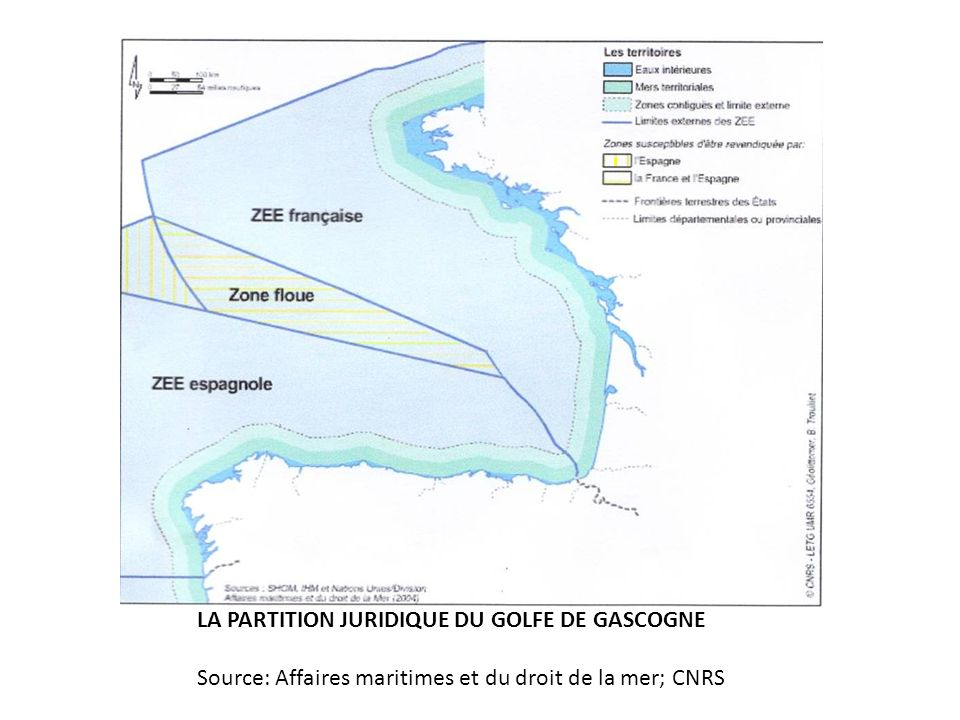 LA PARTITION JURIDIQUE DU GOLFE DE GASCOGNE Source: Affaires maritimes et du droit de la mer; CNRS