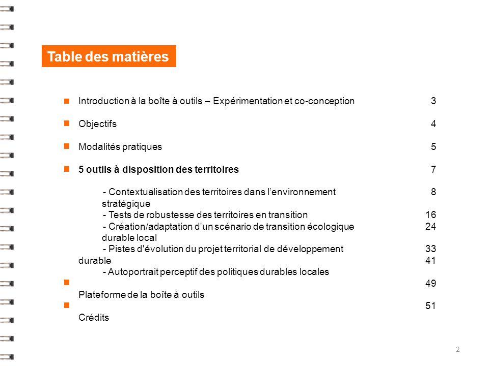 Table des matières Introduction à la boîte à outils – Expérimentation et co-conception Objectifs Modalités pratiques 5 outils à disposition des territoires - Contextualisation des territoires dans lenvironnement stratégique - Tests de robustesse des territoires en transition - Création/adaptation d un scénario de transition écologique durable local - Pistes d évolution du projet territorial de développement durable - Autoportrait perceptif des politiques durables locales Plateforme de la boîte à outils Crédits 2 3 4 5 7 8 16 24 33 41 49 51