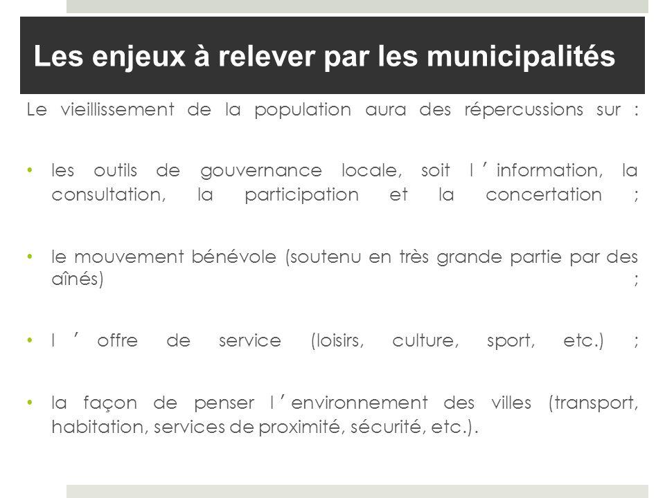 Les enjeux à relever par les municipalités Le vieillissement de la population aura des répercussions sur : les outils de gouvernance locale, soit linf