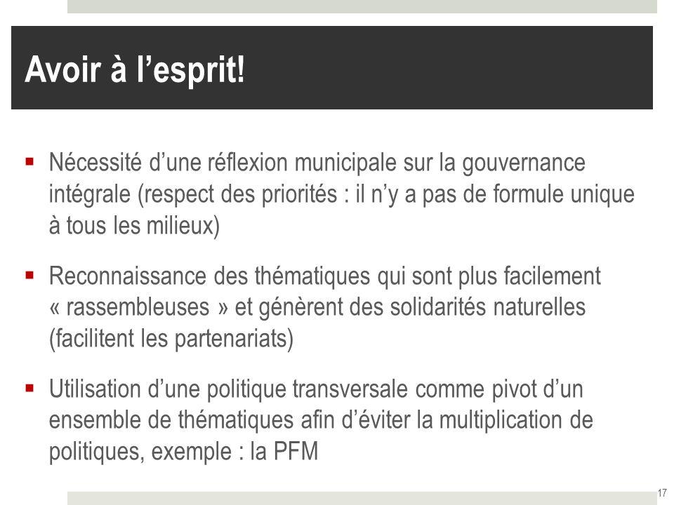 Avoir à lesprit! Nécessité dune réflexion municipale sur la gouvernance intégrale (respect des priorités : il ny a pas de formule unique à tous les mi