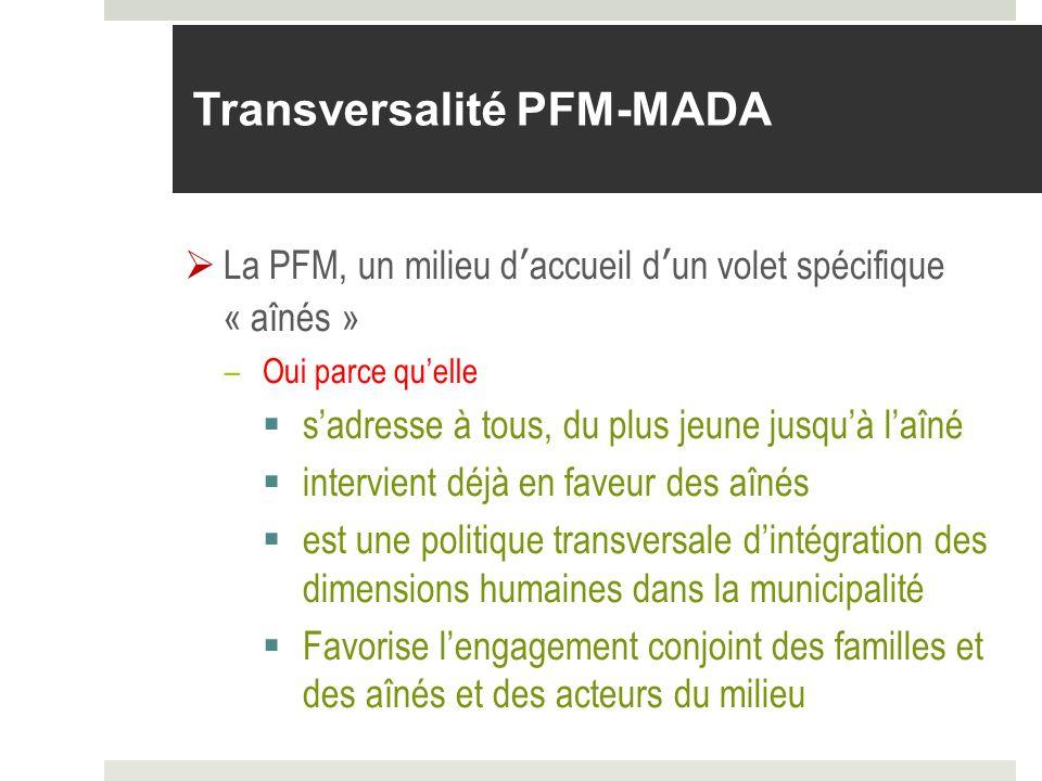 Transversalité PFM-MADA La PFM, un milieu daccueil dun volet spécifique « aînés » –Oui parce quelle sadresse à tous, du plus jeune jusquà laîné interv